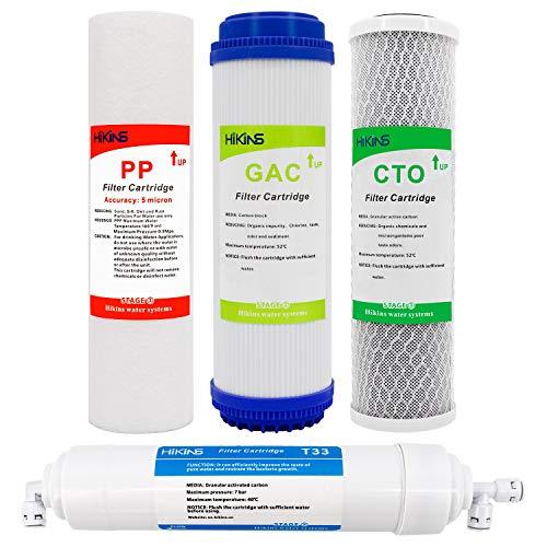 HiKiNS Acqua Filtro di Ricambio Set 10-in PP Sediment, GAC Granulle Carbone Attivo, Cto e T33 Post Carbonio (4-Pack Senza Ro Membrane) Filtro per Acqua Potabile, sistemi ad osmosi inversa