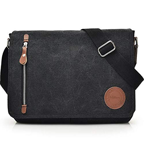 Vintage Canvas Satchel Messenger Bag for Men Women, Travel Shoulder Bag Satchel Crossbody School Bag for 11.6-13.3 inch Laptop Chromebook Computer(Black)