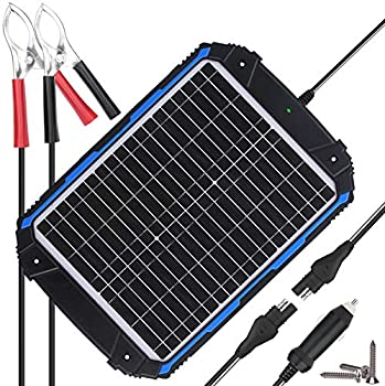 SUNER POWER Waterproof 12V Solar Battery Charger & Maintainer Pro - Built-in Intelligent MPPT Charge Controller - 20W Solar Panel Trickle Charging Kit for Car Marine Motorcycle RV etc