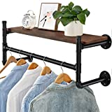 Oyydecor Industrial Pipe Clothes Rack, Heavy Duty Wall Mounted Black Iron Garment Rack Bar, Multi-Purpose Hanging Rod for Closet Storage, Laundry Room (1 Pack (Not included planks))