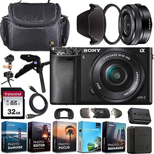 Sony Alpha a6000Mirrorless E-Mount Camera with APS-C Sensor (Black) + Sony E PZ 16–50mm F3.5–5.6 OSS Lens + Exclusive Accessory Bundle