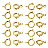 120 Pcs Spring Clasps for Jewelry Making Gold Plated Spring Ring Clasp for Necklace 6mm…