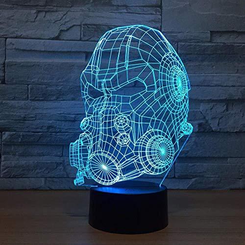 Lámpara de ilusión 3D Modelo de máscara de gas Decoraciones de oficina Lámpara Regalo de cumpleaños Regalo de Navidad Juguete de dibujos animados Luz de noche para niños Lámpara de mesa de 7 colores.