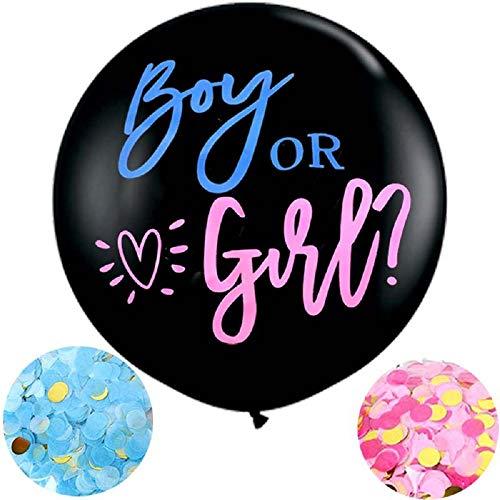 Meowoo Globos de Revelación de Género, Grande Látex Globos Boy or Girl 90cm Con Confeti Rosa y Azul para Fiesta Decoration (Negro)
