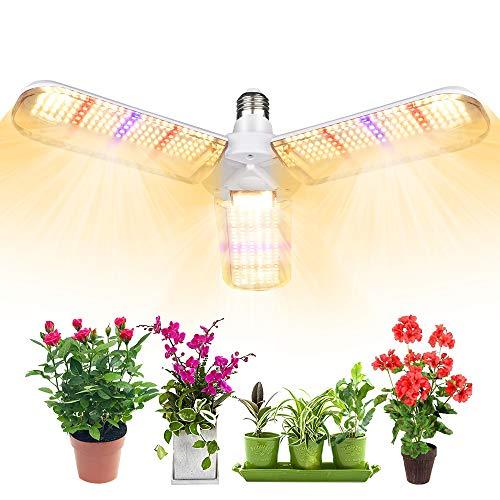 Derlights 植物育成ライト100W相当 フルスペクトル 414LED E26口金 暖色系 擬似太陽光 角度調整可能 室内栽...