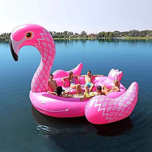 ATRE Juguetes Inflables para Piscinas, Flotador para Piscinas Inflables de PVC para 6 Personas Isla Inflable Gigante Unicornio Flamingo Peacock Súper Flotante Fila Grande Cama Flotante Isla