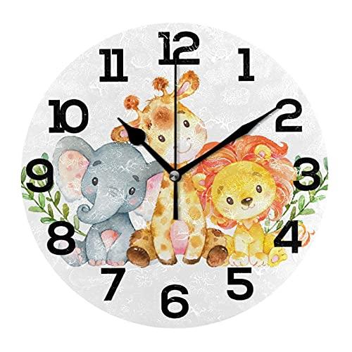 AMONKA Safari Jungle Zoo Animales Bebé Redondo Acrílico Reloj de Pared No Ticking Relojes Silenciosos para Decoración del Hogar Salón Cocina Dormitorio Oficina Escuela