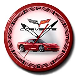 Corvette C6 Red Genuine Vette Emblem Neon Wall Clock 20 Made In USA, 110V Electric, Aluminum Spun Case, Powder Coated Finish, Glass Face, Brass Movement, Pull Chain, 1 Year Warranty