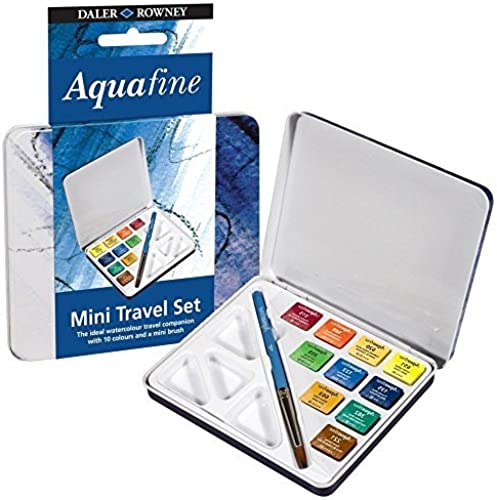 Daler Rowney mini voyage set of 10 Aquafine water colour paints in a tin box by Daler Rowney
