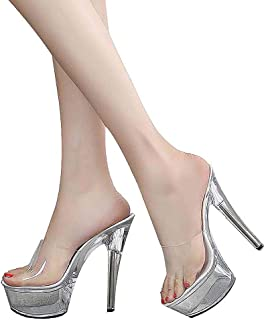 Women'S Open Toe Sandals,Transparent Stiletto Heel,Ladies Perspex Platform Sandals for Wedding,Party,Prom