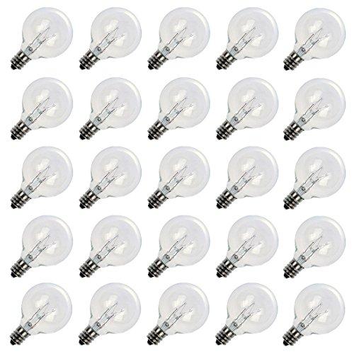 25 Pack Clear G40 Incandescent Globe Bulbs With Candelabra Screw Base, E12 Candelabra Base Light Glass Bulbs