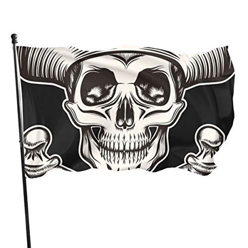Banderas decorativas de jardín con diseño de calavera pirata de Emonye, 3 banderas de 591 pies para decoración de interiores y exteriores