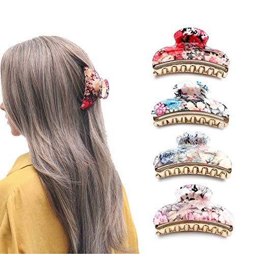 Nicute Haarspangen, Acryl, Blumendruck, Haarklammern, rutschfest, große Haarklammer, Haarklemmen-Set, Haar-Accessoires für Frauen und Mädchen (lila, rot, weiß und blau)