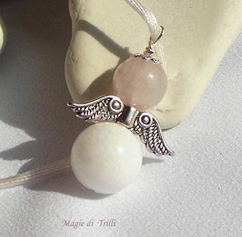 Magie di Trilli Collana artigianale con ciondolo angelo custode in pietre dure: agata bianca e giada rosa, in argento tibetano: regalo Pasqua e Comunione - Cresima
