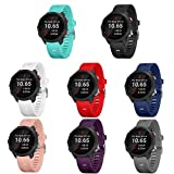 TECKMICO 8PCS bands Compatible with Garmin Forerunner 245/645,20mm Soft Silicone Replacement bands for Garmin Forerunner 245/645 GPS Running Watch,NO Tracker(8-Pack, Buckle Design)