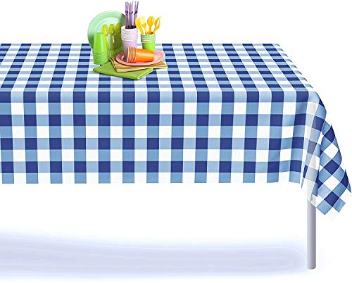 Blue Gingham Checkered 12 Pack Premium Disposable Plastic Picnic Tablecloth 54 Inch. x 108 Inch. Decorative Rectangle Table Cover By Grandipity