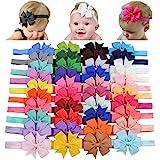 Choicbaby 40 diademas de lazo de grogrén para niñas y bebés, de 3 pulgadas, accesorios para el pelo para bebés recién nacidos
