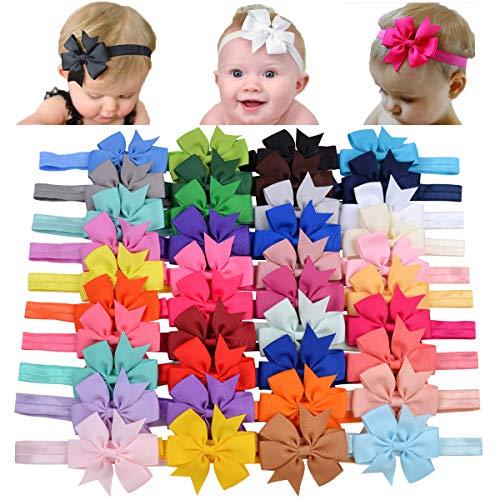 Choicbaby 40 diademas de lazo de grogrén para niñas y bebés, de...
