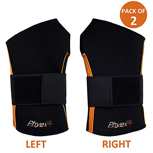 Phyex 2 Pack Strong Support Adjustable Wrist Wraps Straps Braces - Best for Weight Lifting, Loading Freight, Relieve Wrist Pain, Sprains, Carpal Tunnel (S, Left & Right)