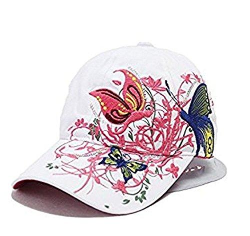 Doitsa Cotton Hat Fashion Frau Baseballmütze Schmetterlings-Stickerei-Muster Sonnenhut Hip Hop-Hut Sommer-Hut Schöne sporte Erholung Weiß zu Reisen