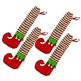 Wenxiaw Cubiertas de Pierna de Silla de Navidad Silla Piernas Calcetines Navidad Calcetín de Silla de Navidad para Decoraciones de Mesa Navideñas, Decoraciones para Fiestas, 4 Piezas (Elfos)