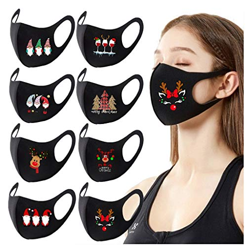 8PCS Adult Face Protection Christmas Printed Breathable Reusable Washable Dustproof Windproof Face Bandanas with Elastic Earloop for Outdoor Activities Women and Men