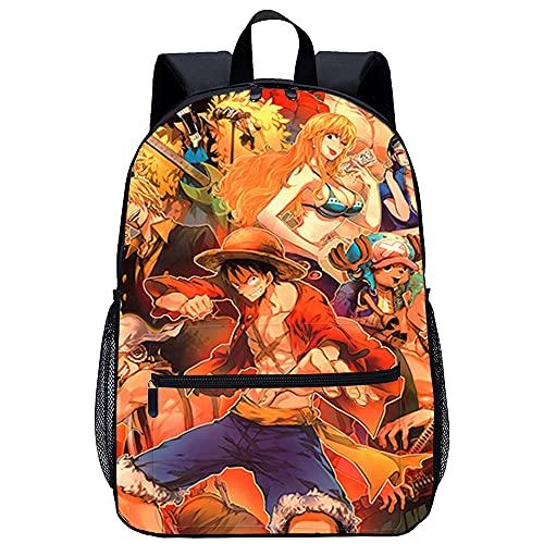 Mochila 3D Viaje Mochila Personajes De Anime De One Piece Adecuado para: estudiantes de primaria y secundaria, la mejor opción para viajes al aire libre Tamaño: 45x30x15 cm / 17 pulgadas Mochilas pa