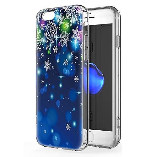 ZhuoFan Funda para iPhone 6 Plus / 6s Plus Cárcasa Silicona 3D Transparente con Dibujos Navidad Diseño Suave Gel TPU Antigolpes de Protector Case para Apple iPhone 6 Plus / 6s Plus, Copo de Nieve 04