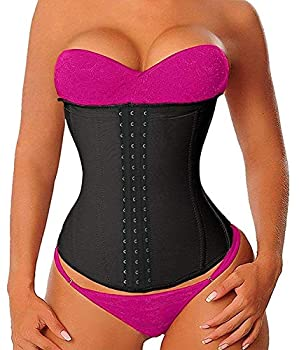 YIANNA Women s Latex Waist Trainer Long Torso Underbust Corsets Cincher Sport Girdle Body Shaper Size XL  Black