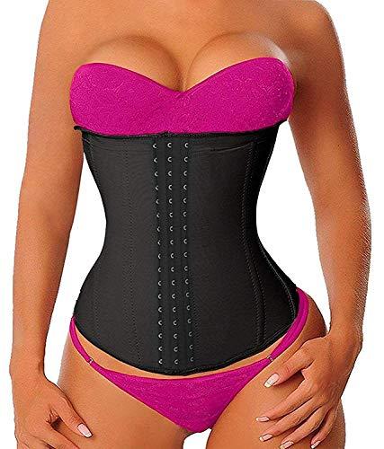 YIANNA Women's Latex Sports Waist Trainer Long Torso Waist Cincher 3 Hook Rows, Size XL (Black)