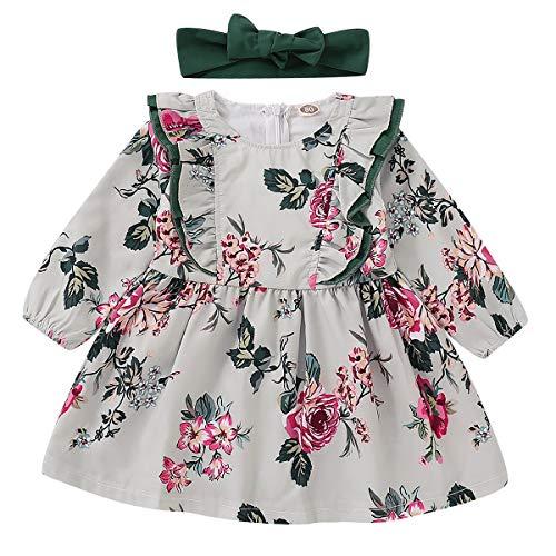 HaiQianXin 2 stks baby Meisjes Kleding Prinses Lange Mouw Bloemen Jurk+Strik Hoofdband Baby Kid Ball Jurk feestjurken (Kleur: 3Y-4Y)