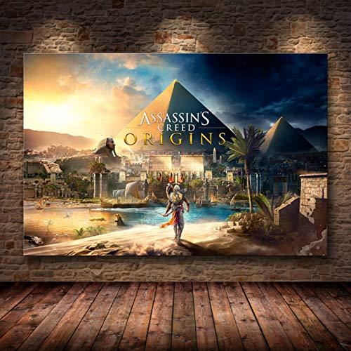 Sin Marco Cuadros 40X50Cm - Assassin'S Creed Odyssey Origen Poster Decoración Pintura sobre Lienzo De Alta Definición Lienzo Pintura Arte Carteles E Impresiones,Wkh-385-1