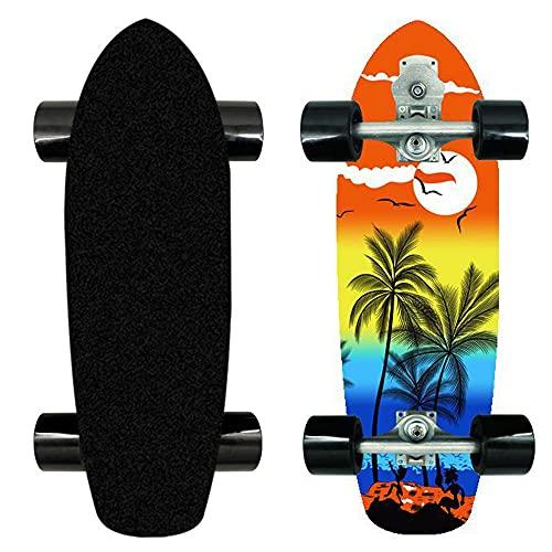 VOMI Skateboard Completo Cruiser Patineta De Surf para Adultos Y Niños, 8 Capas De Arce De Nivel A Doble Patada Cóncava Estándar Y Patinetas De Trucos, S7 Puent Soporte De Dirección, 74 * 24 * 12Cm,3