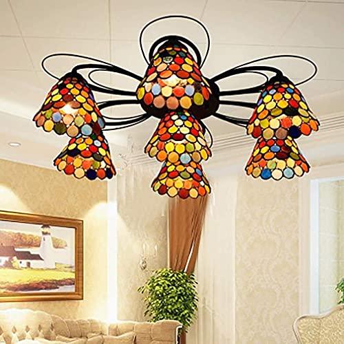 Living Equipment European Retro Stained Glass Multi-Head Ceiling Lamp Boho Style for Living Room Dining Room Bedroom