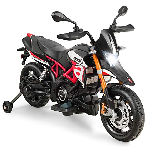 GOPLUS 12V Elektro-Motorrad mit Schweinwerfer/Musik, Kindermotorrad mit Stützrädern, Elektroauto, Kinderwagen, Kinderfahrzeug für 3 - 8 Jahren, Elektrofahrzeug mit Gashebel, 3-5 km/h