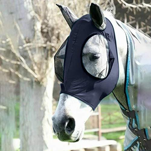 MINIKIMI Fliegenmaske Pferd Uv Schutz Comfort Atmungsaktiv Pferdefliegenmaske SchüTzt Augen Und Ohren,Marine (Marine)