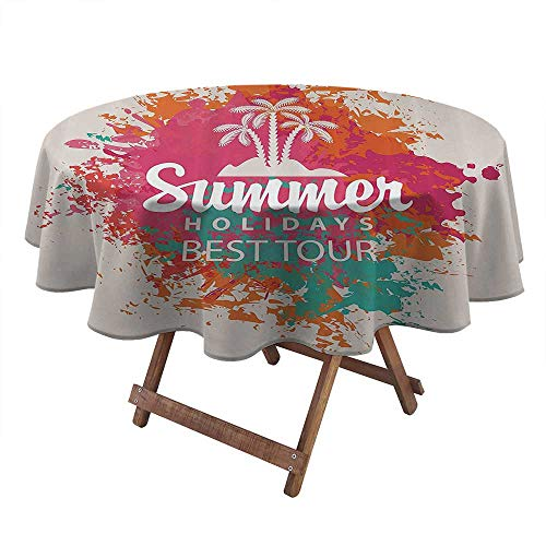 ThinkingPower Round Tablecloths Summer Holidays Best Tour Lettering with Palm Tree Island Rainbow Colored Image Decorative Table Desk Cover for Dining Room Kitchen Party Multicolor (Diameter50 Inch)