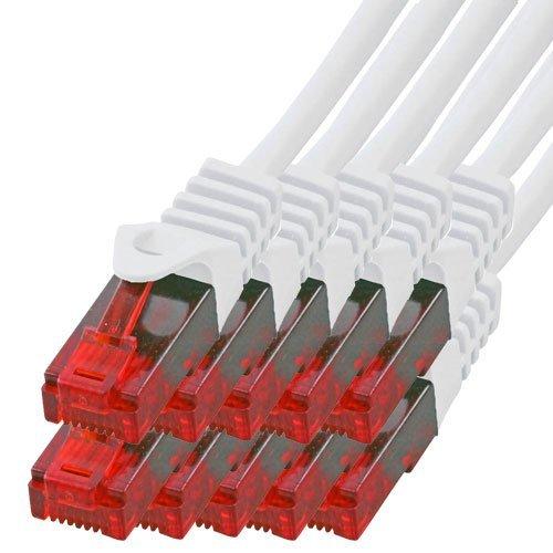 BIGtec - 10 Stück - 0,25m Gigabit Netzwerkkabel Patchkabel Ethernet LAN DSL Patch Kabel weiß (2X RJ-45 Anschluß, CAT.5e, kompatibel zu CAT.6 CAT.6a CAT.7) 0,25 Meter