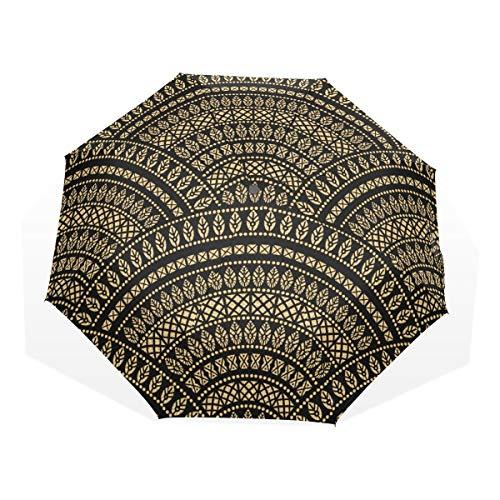 LASINSU Paraguas Resistente a la Intemperie,protección UV,Fondo Ondulado Popular geométrico Abstracto de...