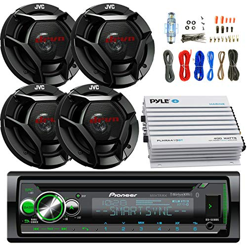 "Pioneer DEH- Car CD Player Receiver Bluetooth USB AUX Radio - Bundle Combo with 4x JVC CSDR621 6.5"" Inch 300-Watt 2-Way Black Audio Coaxial Speakers 4-Channel Amplifier, Amp Kit"