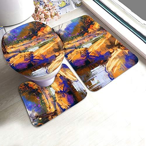 N/R Mooie Lijnen Kleurrijke Stenen In Herfst Bos U-Shaped Toilet 3 Stuk Badmat Set Badkamer Tapijten Tapijt Matten Antislip Voor Indoor Contour Tapijt Gepersonaliseerd
