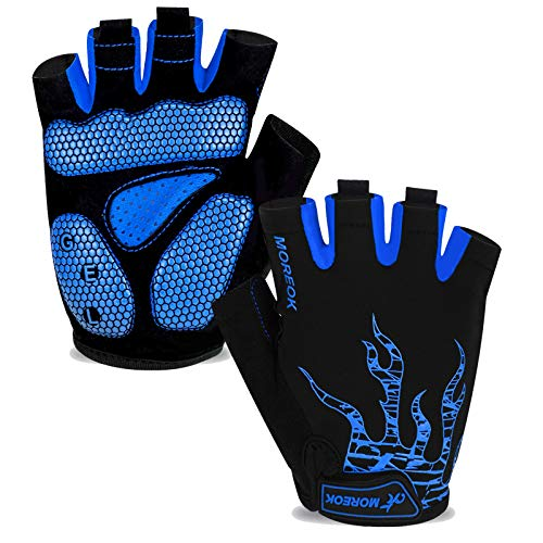 MOREOK Mens Cycling Gloves,Half Finger Biking Glove MTB DH Road Bicycle Gloves Gel Pad Shock-Absorbing Anti-Slip Breathable Motorcycle Mountain Bike Gloves Unisex Women AK050-Blue-L