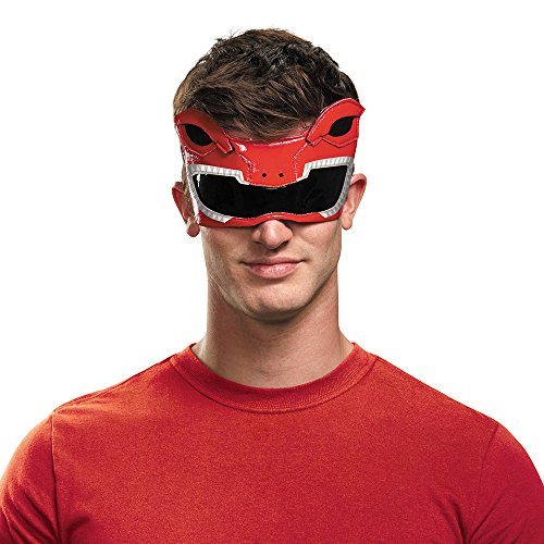 Disguise Men's Red Ranger Adult 1/4 Mask Costume Accessory, Red, One Size