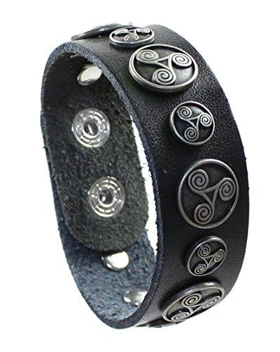 Lederarmband Triskele Ø 18-22 cm in schwarz, Keltische Triskele Armband