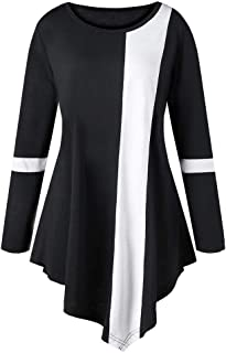 Chaofanjiancai Women Long Sleeve Striped Asymmtrical Tunic Tops Plus Size Casual Button Blouse T-Shirts