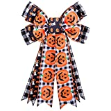 LOKESI Halloween Wreath Bow Large Halloween Bow Tree Topper Black Buffalo Plaid Pumpkin Ghost Patterns Gift Bows for Halloween Party Holiday Home Indoor Outdoor Basket Ornaments Decorating