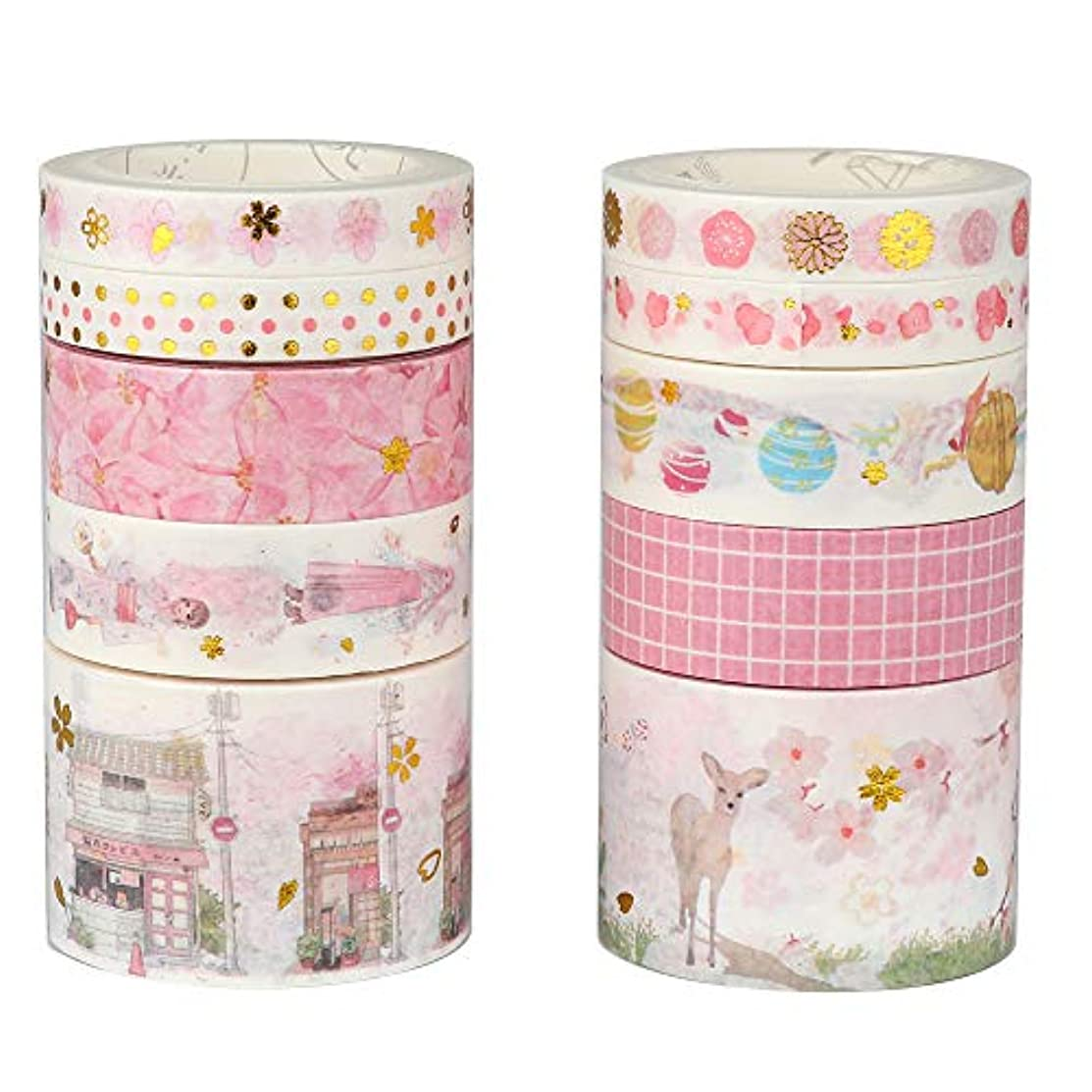 Molshine 10Rolls(Length 16.4ft/Roll) Washi Masking Tape Set,Adhesive Paper,Crafts Tape for DIY,Planners,Scrapbook,Object Decorative,Collection,Gift Wrapping-Japanese Cherry Blossom Series