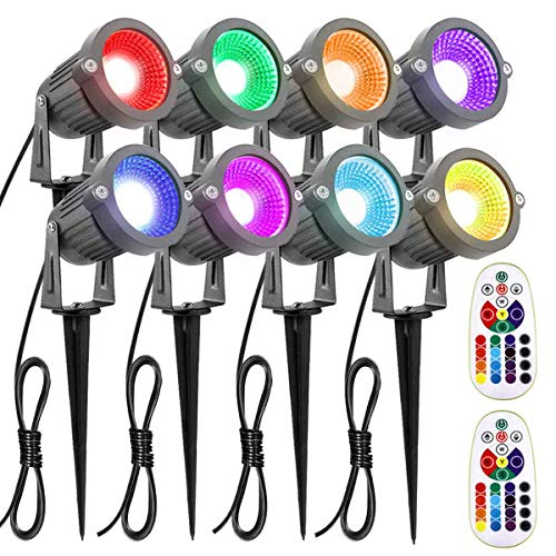 ZUCKEO Landscape Lighting 6W RGB Remote Control LED Landscape Lights 12V 24V Low Voltage Garden Pathway Lights, Waterproof 16 Color-Changing Decorative Lights for Indoors Outdoors(8 Pack)