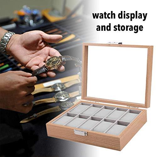 iBàste Uhr Vitrine Palisander Kompaktes Sicherheitsschloss Transparente Abdeckung Uhr Aufbewahrungsbox