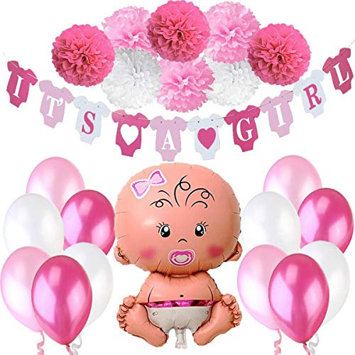 Jonami Babyparty Madchen, Baby Shower Mädchen, Babyparty Deko - It's a Girl Rosa Girlande + 1 XXL Neugeborene Folienballoon + 8 Blumenpuscheln + 12 Ballons. Dekorations Babydusche Party